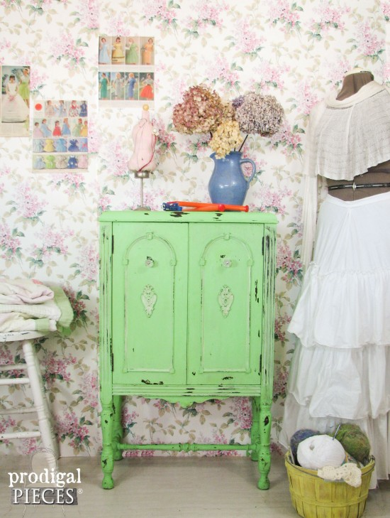 Antique Stereo Repurposed Into Sewing Cabinet by Prodigal Pieces | www.prodigalpieces.com