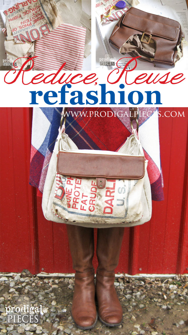 Handmade Feedsack, Linen, and Leather Purse by Prodigal Pieces | prodigalpieces.com #prodigalpieces