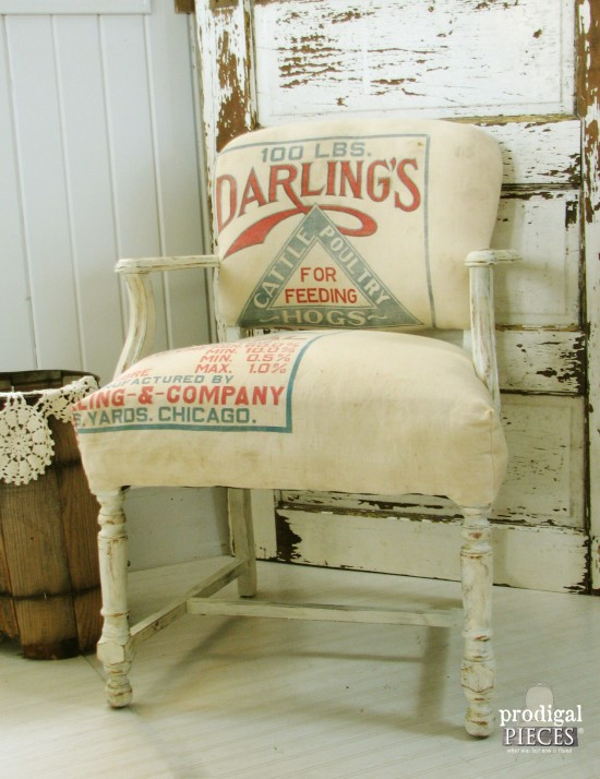 Vintage Farmhouse Feed Sack Chair by Prodigal Pieces   prodigalpieces.com #prodigalpieces