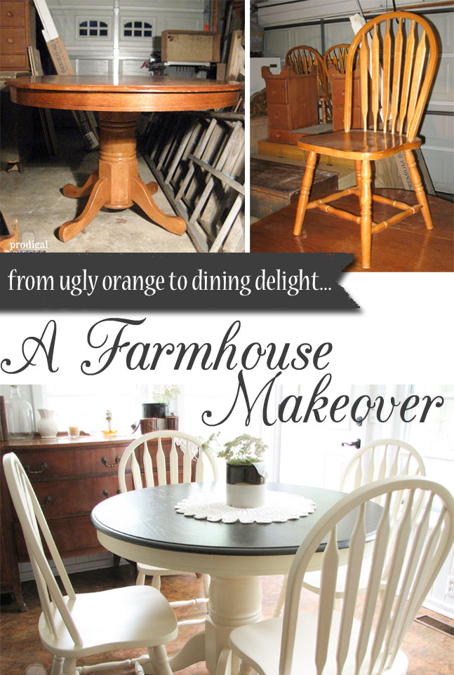Outdated 1980's Dining Set Gets Farmhouse Makeover by Prodigal Pieces | prodigalpieces.com