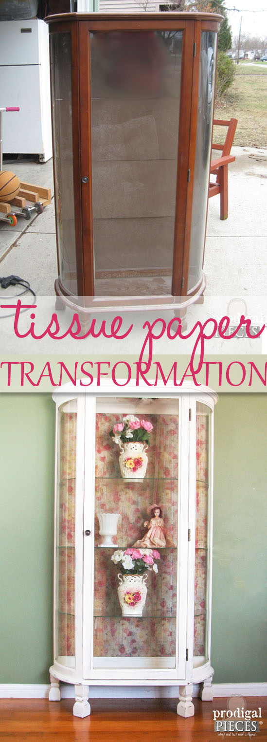 Vintage Curio Cabinet Gets Tissue Paper Transformation by Prodigal Pieces | www.prodigalpieces.com