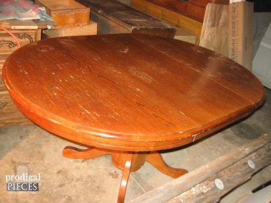 Oak Farmhouse Dining Table Before | prodigalpieces.com