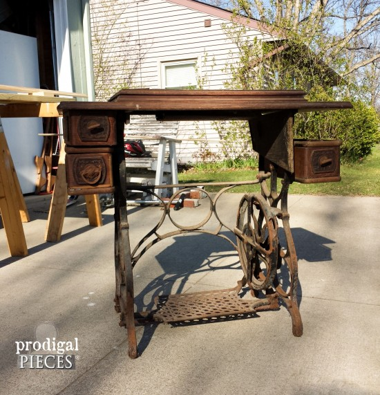 Antique Treadle Sewing Machine Repurposed with Early 1900's Barn Wood Using Weatherwood Stain by Prodigal Pieces | prodigalpieces.com #prodigalpieces