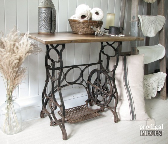 Antique Treadle Sewing Machine Repurposed With Early 1900u0027s Barn Wood Using  Weatherwood Stain By Prodigal Pieces