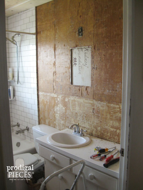 Unfinished Bathroom Wall During Remodel| Prodigal Pieces | www.prodigalpieces.com