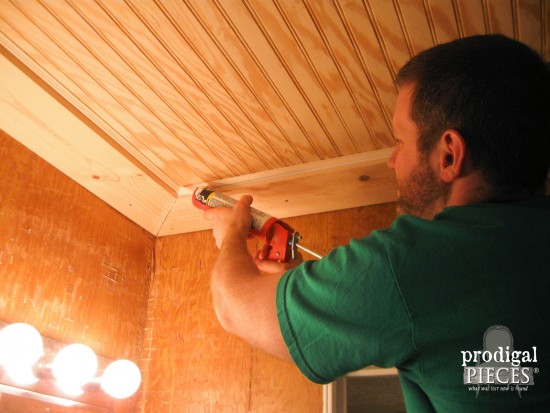 Installing Beadboard Coffered Ceiling by Prodigal Pieces | www.prodigalpieces.com