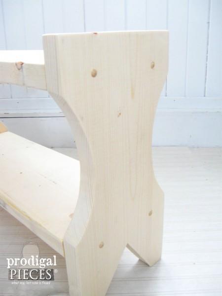 Unfinished DIY Farmhouse Bench | prodigalpieces.com
