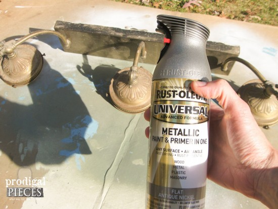 Antique Nickel by Rustoleum for Light Fixture in Bathroom Remodel| Prodigal Pieces | www.prodigalpieces.com