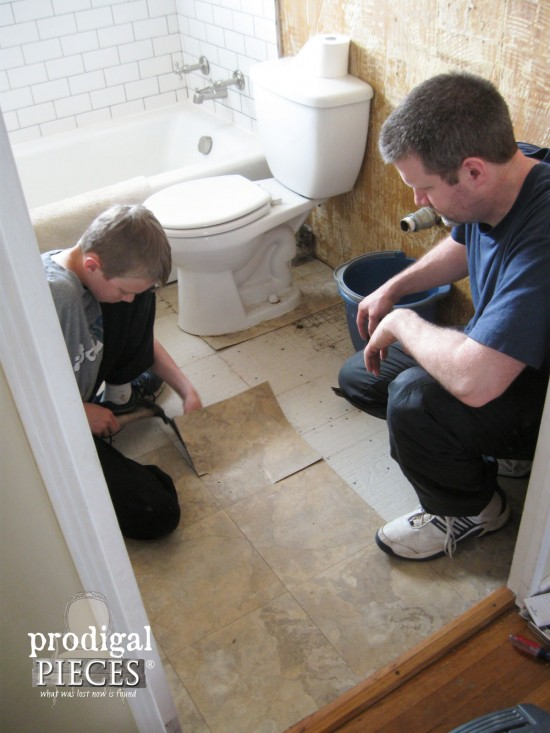 Removing Old Tile in Bathroom | Prodigal Pieces | www.prodigalpieces.com