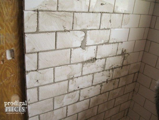 Gray Grout with White Subway Tile in Bathroom by Prodigal Pieces | prodigalpieces.com
