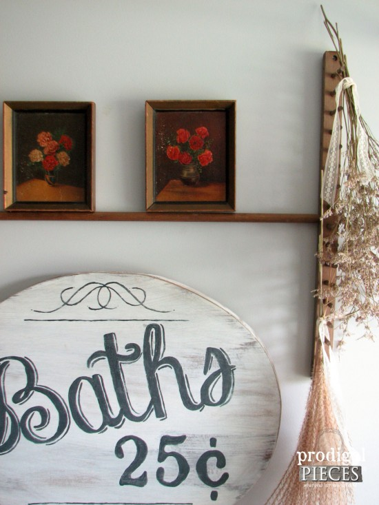 Thrifted Vignette in Farmhouse Bathroom by Prodigal Pieces | prodigalpieces.com #prodigalpieces