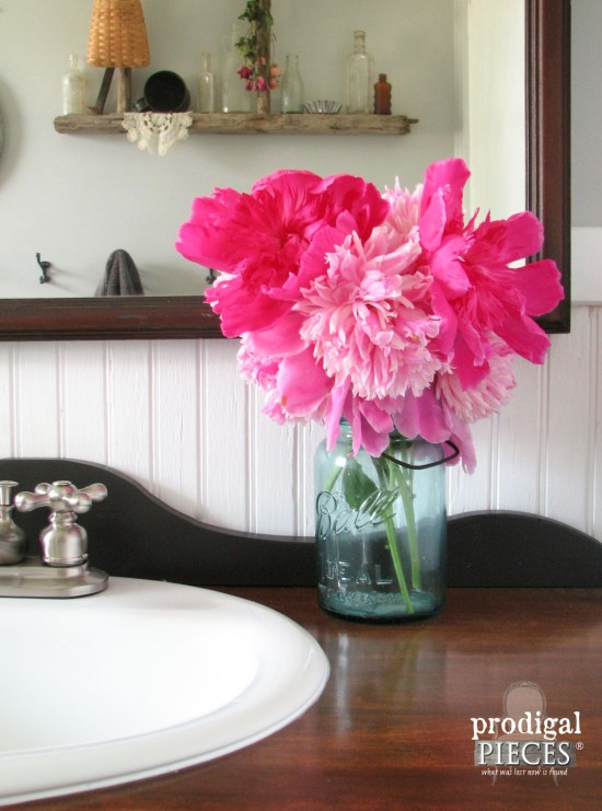Beautiful Pink Peonies in Blue Ball Jar | prodigalpieces.com #prodigalpieces