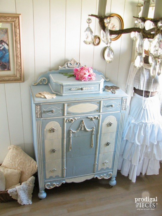Antique Highboy Chest with Chalky Finish Paint | prodigalpieces.com #prodigalpieces
