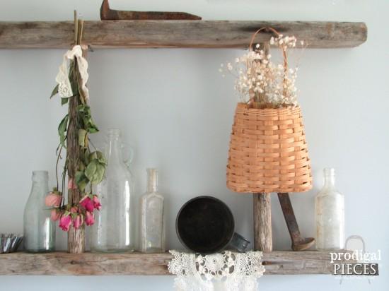 Vintage Vignette in Farmhouse Bathroom | prodigalpieces.com