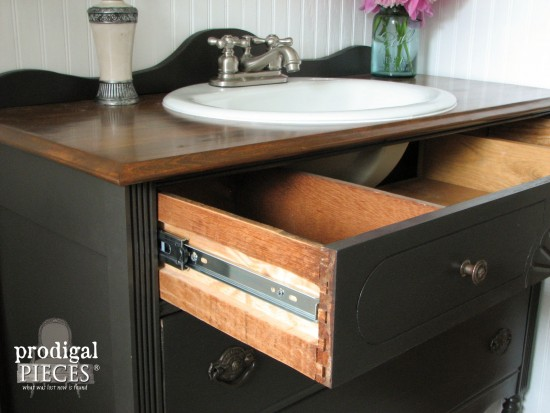 Open Drawers of Upcycled Bathroom Vanity by Prodigal Pieces | prodigalpieces.com #prodigalpieces