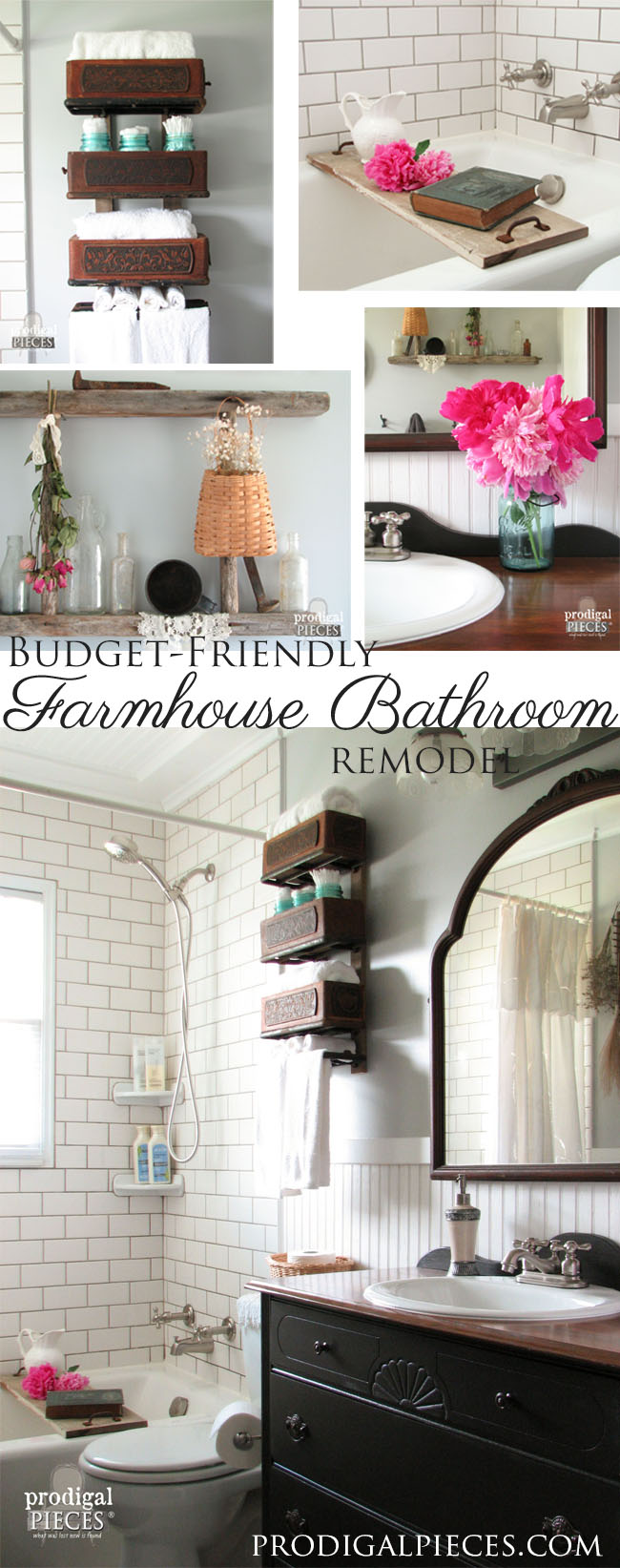 Budget-Friendly DIY Farmhouse Style Bathroom Makeover by Prodigal Pieces | prodigalpieces.com