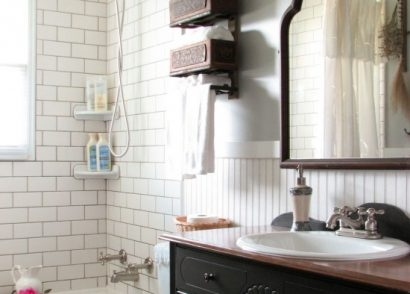 Diy farmhouse style bathroom remodel by prodigal pieces www - Reclaimed Sewing Machine Table Prodigal Pieces