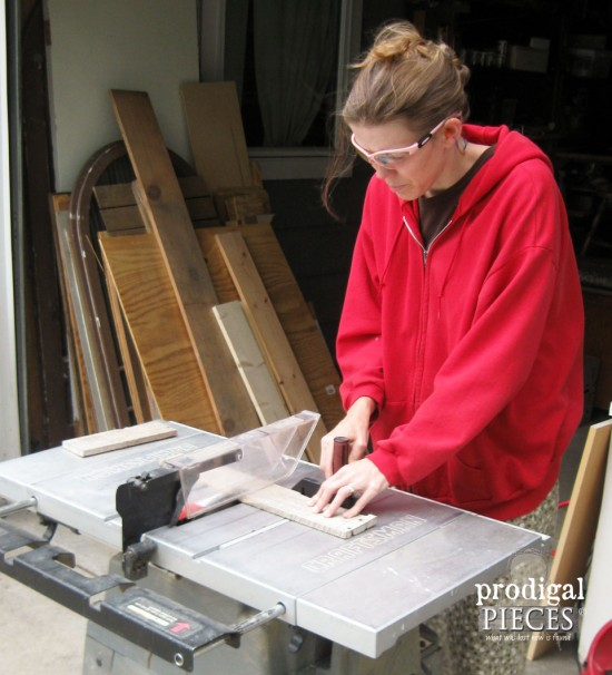 Larissa of Prodigal Pieces using Table Saw for Bathtub Tray | prodigalpieces.com