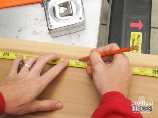 Marking Measurements for Bathtub Tray | prodigalpieces.com