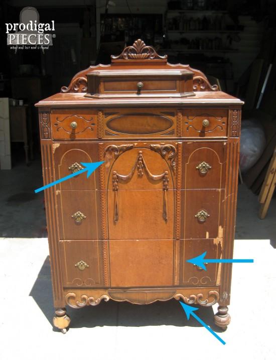 Damaged Veneer on Antique Chest | prodigalpieces.com