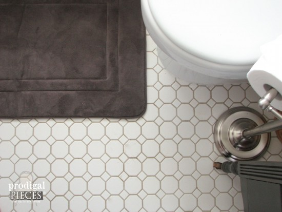Flooring Tile in Farmhouse Bathroom Remodel by Larissa of Prodigal Pieces | prodigalpieces.com