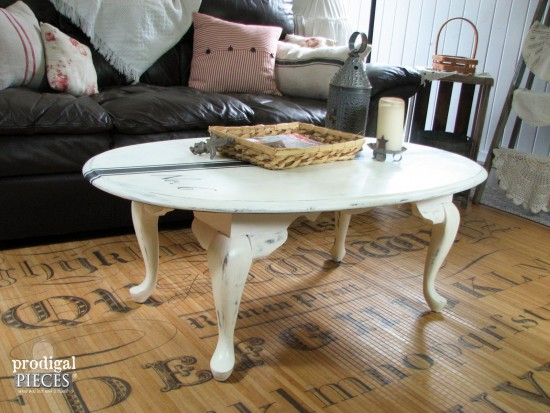 Farmhouse Style Grain Sack Coffee Table by Prodigal Pieces | prodigalpieces.com