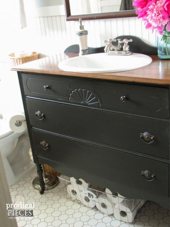 Upcycled Dresser as Farmhouse Bathroom Vanity by Prodigal Pieces | prodigalpieces.com #prodigalpieces #farmhouse #bathroom #diy #home #homedecor