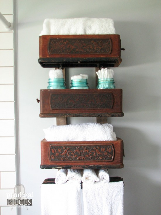 Upcycled Antique Sewing Machine Drawers as Bathroom Caddy by Larissa of Prodigal Pieces | prodigalpieces.com #prodigalpieces #diy #bathroom #farmhouse #home #homedecor