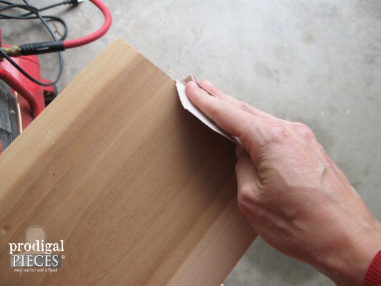 Sanding Wood for Reclaimed Wood Bathtub Tray | prodigalpieces.com
