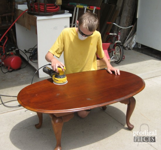 Sanding Down Queen Anne Coffee Table | prodigalpieces.com