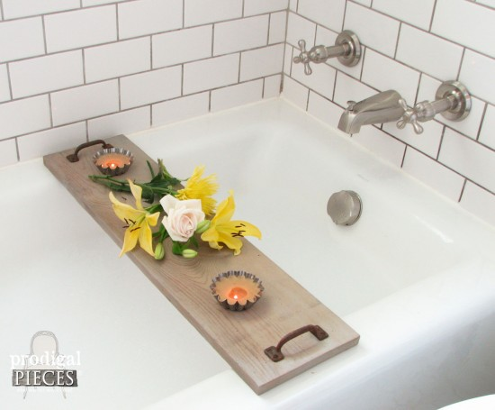 Farmhouse Bathroom with Rustic Bathtub Tray | Tutorial by Larissa of Prodigal Pieces | prodigalpieces.com #prodigalpieces #farmhouse #diy #bathroom #home #homedecor