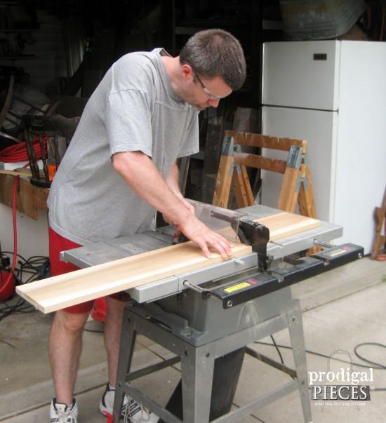 Cutting Wood for DIY Bathtub Tray | prodigalpieces.com