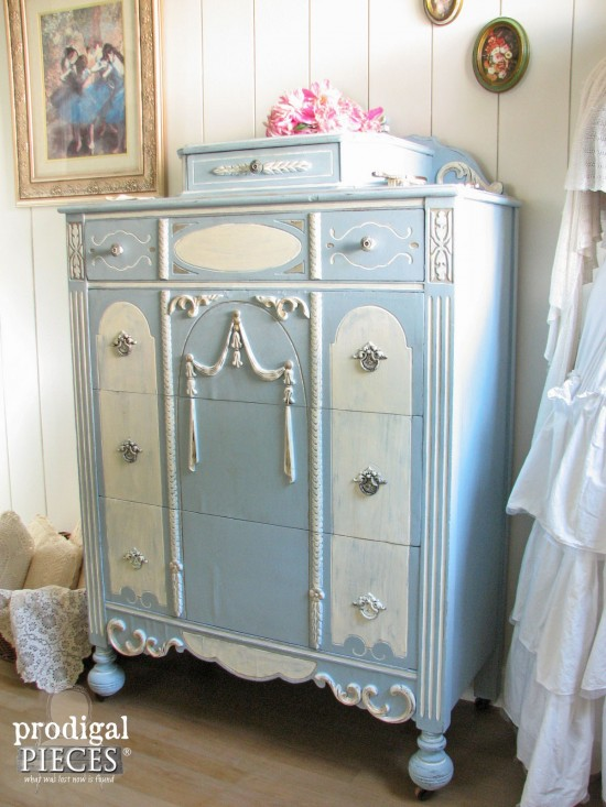 Beautiful Blue Chalky Finish Chest of Drawers | prodigalpieces.com