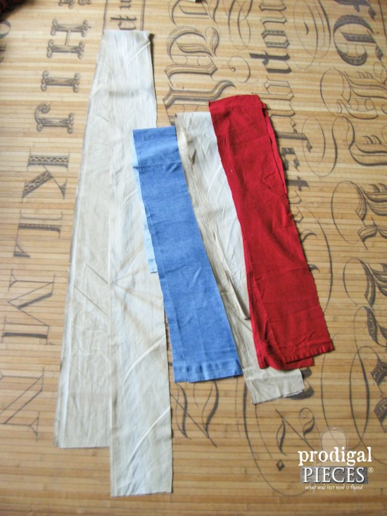 Strips of Fabric for Patriotic Bunting   prodigalpieces.com