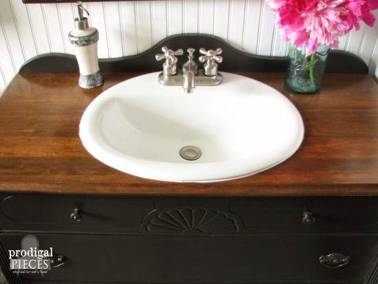 Farmhouse Bathroom Sink in Upcycled Dresser Vanity by Prodigal Pieces | prodigalpieces.com #prodigalpieces #diy #bathroom #farmhouse #home #homedecor