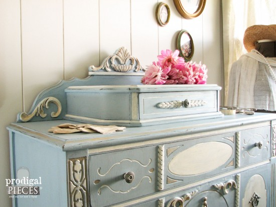 Blue Chalky Finish Antique Chest of Drawers | prodigalpieces.com #prodigalpieces #furniture