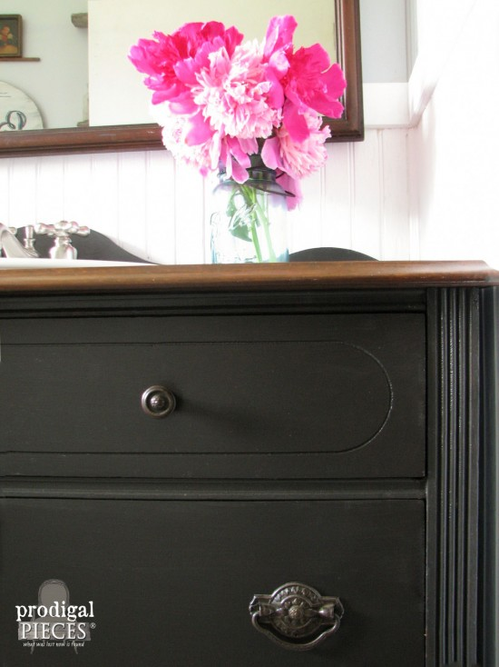 Peonies in Blue Ball Canning Jar in Farmhouse Bathroom | Prodigal Pieces | prodigalpieces.com #prodigalpieces