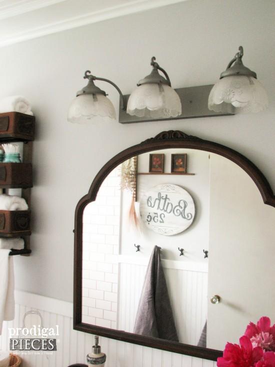 Antique Dresser Mirror Used as Bathroom Vanity Mirror by Prodigal Pieces | prodigalpieces.com #prodigalpieces