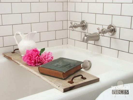 Reclaimed Wood Bathtub Tray in Farmhouse Bathroom | prodigalpieces.com