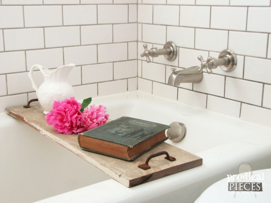 Build a Bathtub Tray Using Reclaimed or New Wood and Repurposed Materials with this DIY Tutorial by Prodigal Pieces www.prodigalpieces.com #prodigalpieces