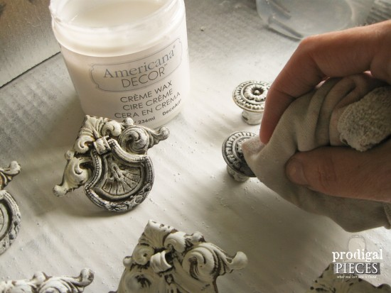Waxing Chalky Finish Paint on Pulls | prodigalpieces.com