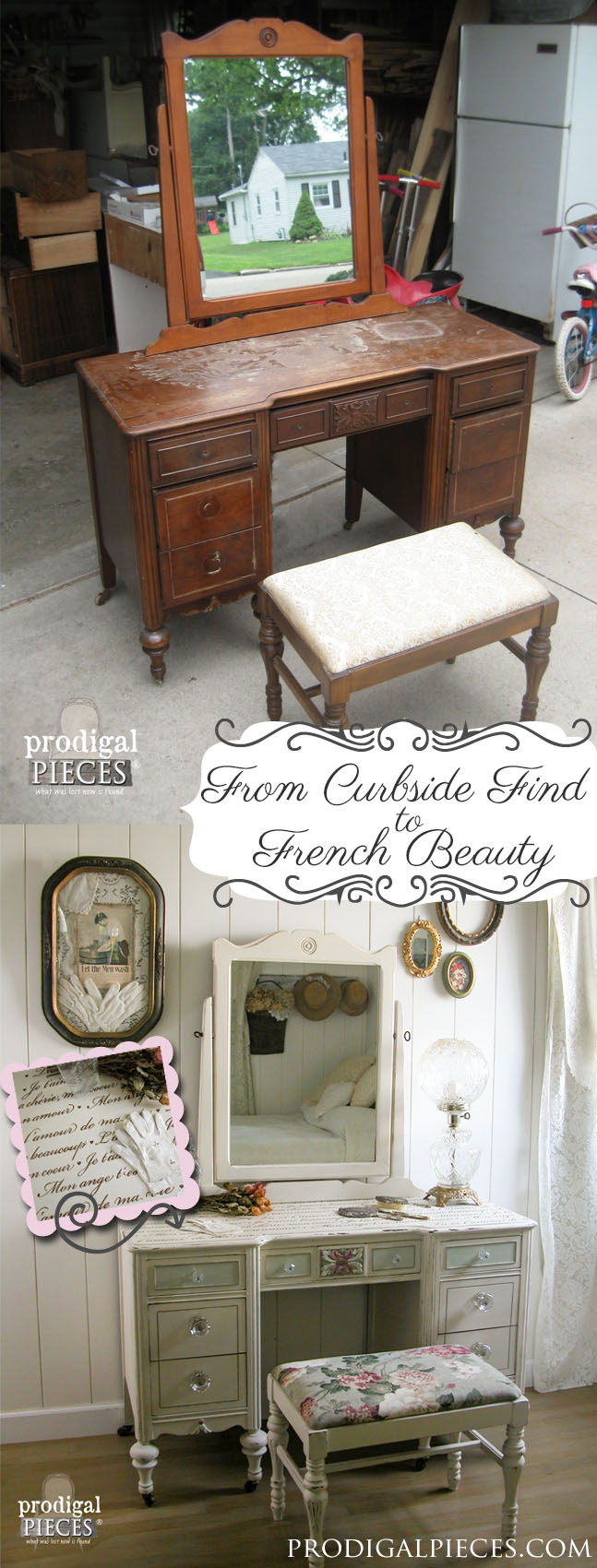 Curbside Vanity is Renewed with Fresh Look and French Script Stenci by Prodigal Pieces | prodigalpieces.com