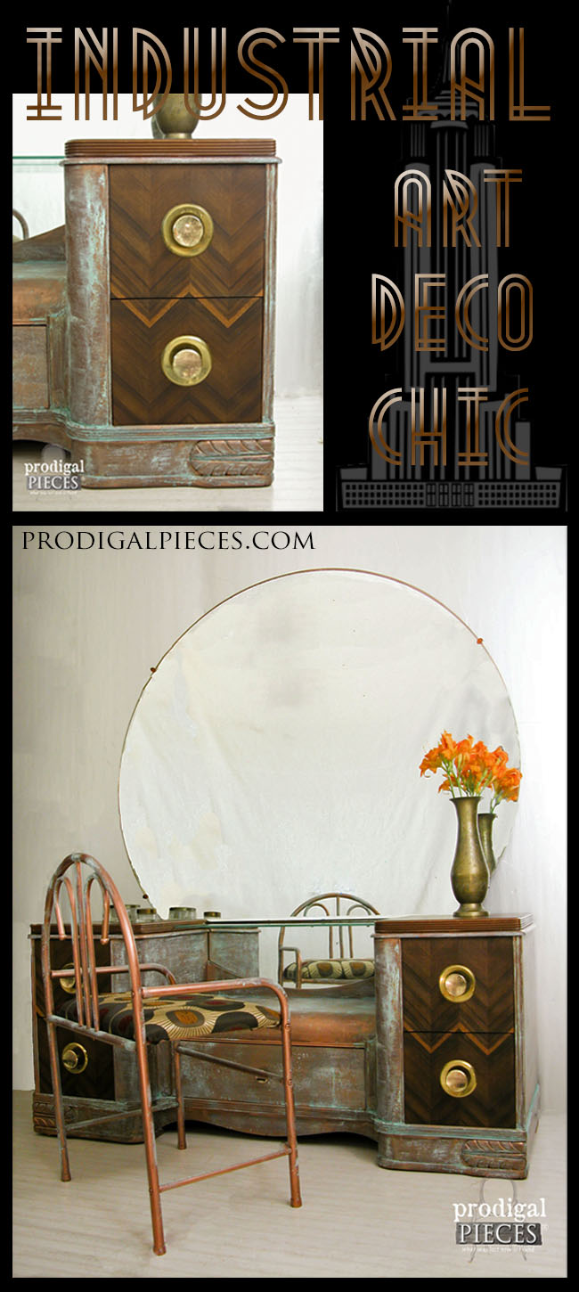 Vintage Art Deco Dressing Table get Industrial Chic Makeover by Prodigal Pieces | prodigalpieces.com