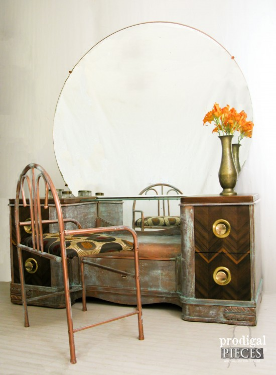 Worn Out Vintage Art Deco Dressing Table Gets An Industrial Chic Makeover  With Modern Masters Metal