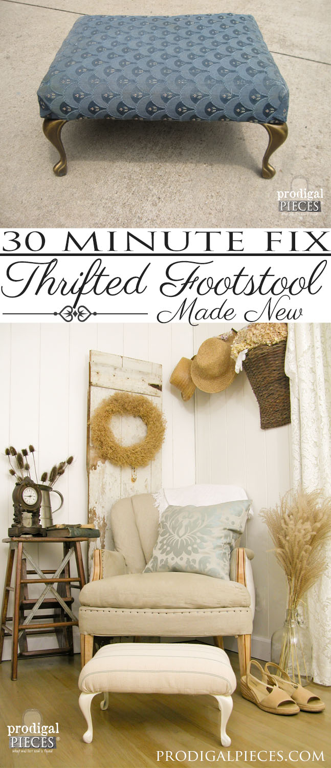 30 Minute Thritfted Footstool Makeover by Prodigal Pieces | www.prodigalpieces.com