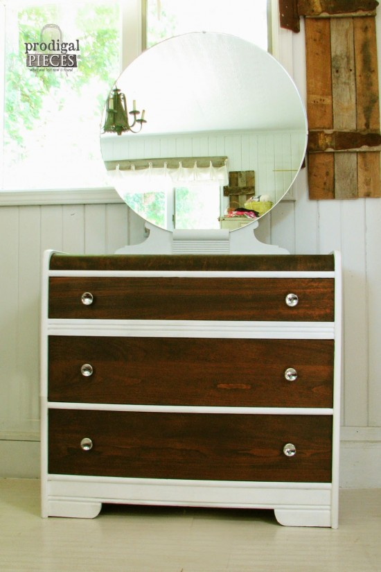 Paint and Stain Combo Vintage Art Deco Dresser by Prodigal Pieces | www.prodigalpieces.com