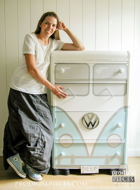 A garage sale freebie Art Deco water dresser gets a sweet Volkswagen Bus makeover by Prodigal Pieces | www.prodigalpieces.com