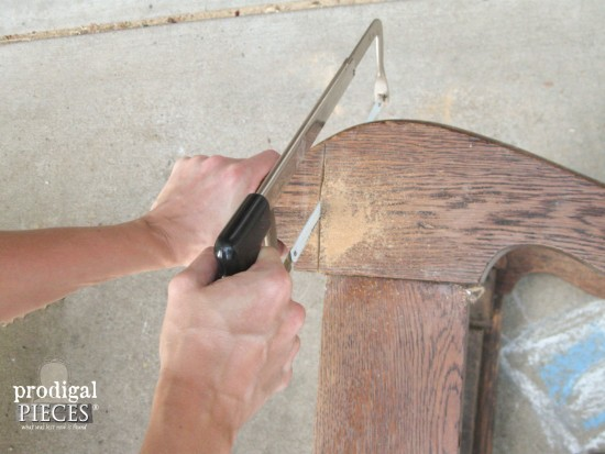 Cutting Antique Rocking Chair for Reclaimed Game Table | prodigalpieces.com