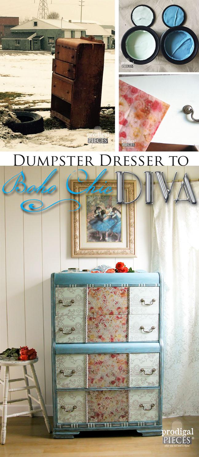 Dumpster Dresser Turned Boho Chic Diva by Prodigal Pieces | www.prodigalpieces.com