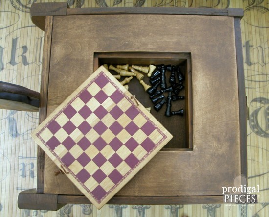 Inside Chess Board Game Table by Prodigal Pieces | prodigalpieces.com